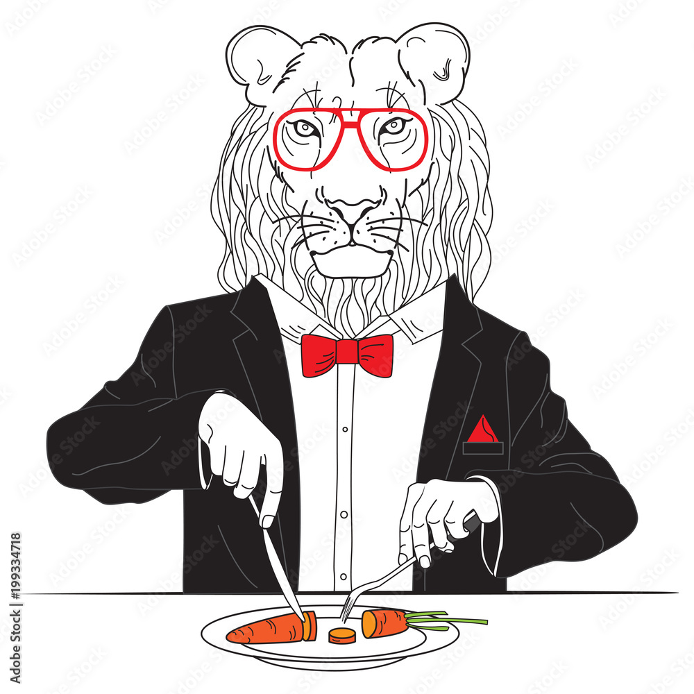 Fototapeta lion a vegetarian eats for lunch carrot