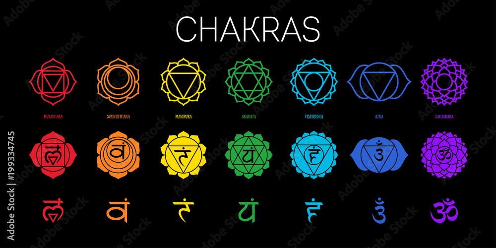 Fototapeta Chakras set: muladhara, swadhisthana, manipura, anahata, vishuddha, ajna, sahasrara. Vector line symbol. Om sign  - obraz na płótnie