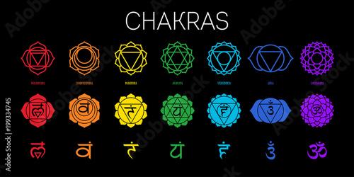 Fotografia  Chakras set: muladhara, swadhisthana, manipura, anahata, vishuddha, ajna, sahasrara