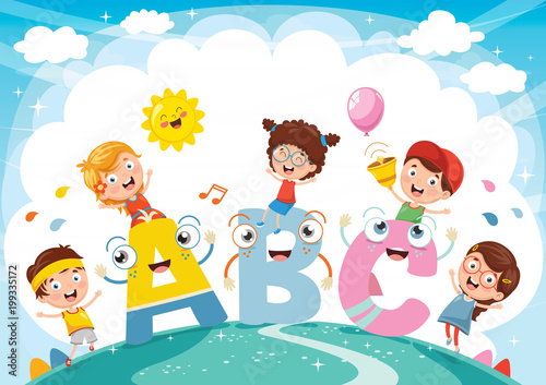 Plakat abecadło - alfabet vector-illustration-of-kids-and-alphabet-characters