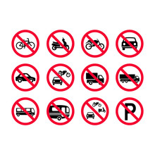 Red Prohibition Vehicles Sign Set. No Motor Vehicles, No Bicycles, No Automobiles. Trucks, Busses, Camper Vans, Scooters, Motorcycles Not Allowed