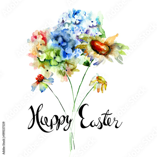 Fototapety, obrazy: Hydrangea and Camomile flowers with title Happy Easter