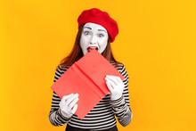 Portrait Of Crazy Mime Woman E...