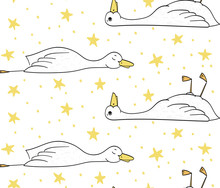Sleepy Duck, Pattern With Duck And Stars, Vector