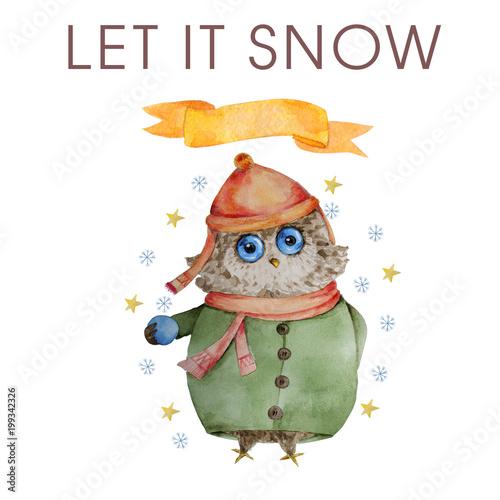 fototapeta na lodówkę Watercolor owl Winter Owl Aquarelle Bird