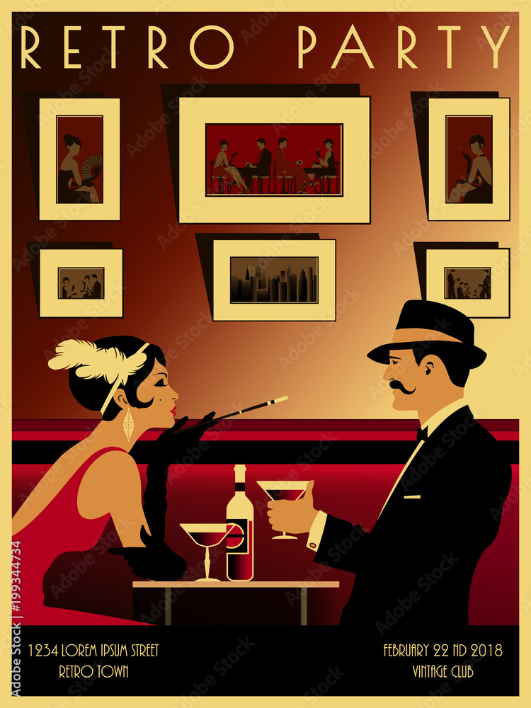 Plakat Couple In A Restaurant In The Style Of The Early 20th Century Retro Party Invitation Card Handmade Drawing Vector Illustration Art Deco