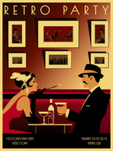 Couple In A Restaurant In The Style Of The Early 20th Century. Retro Party Invitation Card. Handmade Drawing Vector Illustration. Art Deco Style.
