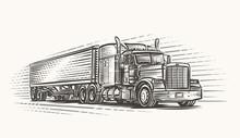 American Truck On Road Hand Drawn Illustration. Vector.
