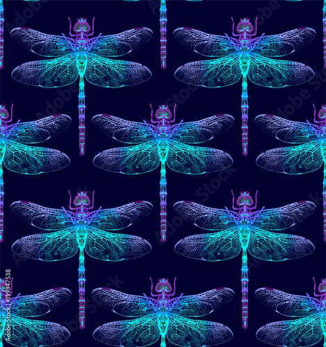 In de dag Boho Stijl Dragonfly Seamless Pattern.