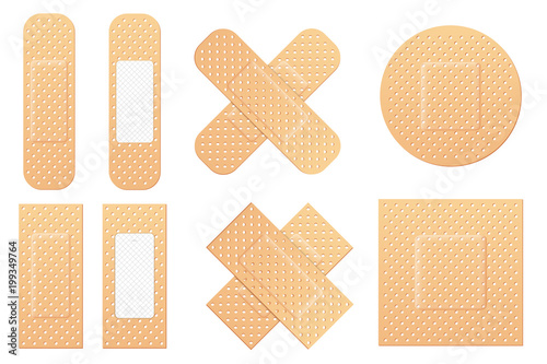 Fotografie, Obraz Creative vector illustration of adhesive bandage elastic medical plasters set isolated on transparent background