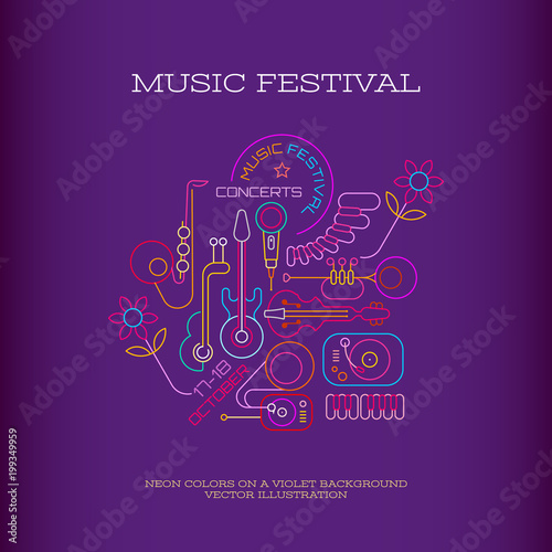 Foto op Canvas Abstractie Art Music Festival banner design