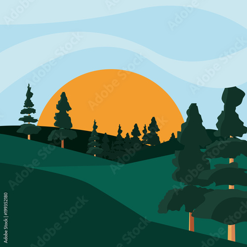 Foto op Aluminium Kasteel Abstract Mountains Landscape with trees and sun, background colorful design. vector illustration