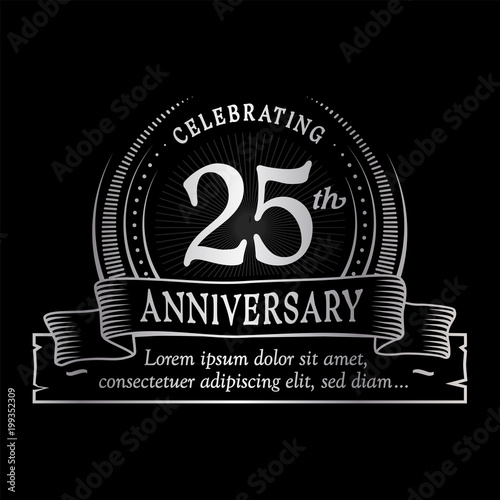 25th anniversary design template. Vector and illustration. Fototapete