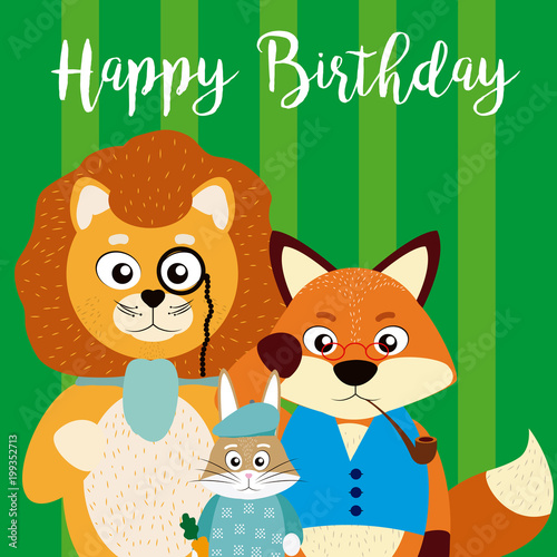 Happy Birthday Card With Cute Animals