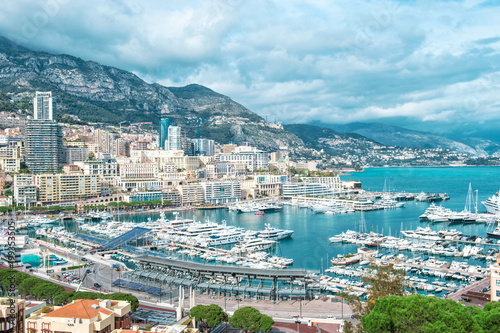 View Monaco harbor port Hercules Mediterranean Sea landscape