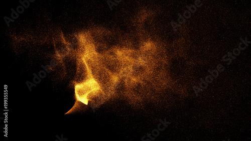 Obraz Gold glitter powder splash background. Festive golden scattered dust particles. Magic mist glowing. Stylish fashion black backdrop. Glamour Abstract Background. - fototapety do salonu