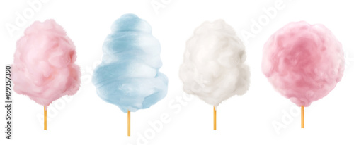 Fotomural  Cotton candy. Sugar clouds 3d vector icon set