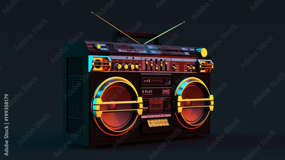 Fototapeta Boombox Moody 80s lighting 3d illustration