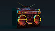 canvas print picture - Boombox Moody 80s lighting 3d illustration