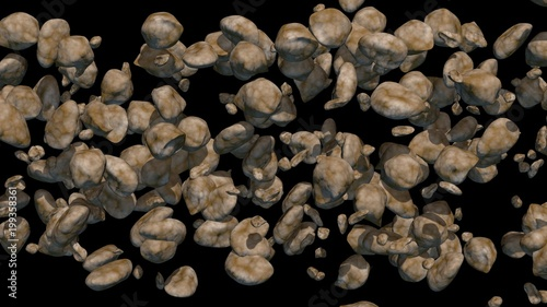 Valokuva  Asteroids on black background. 3d render. Medium, small sizes