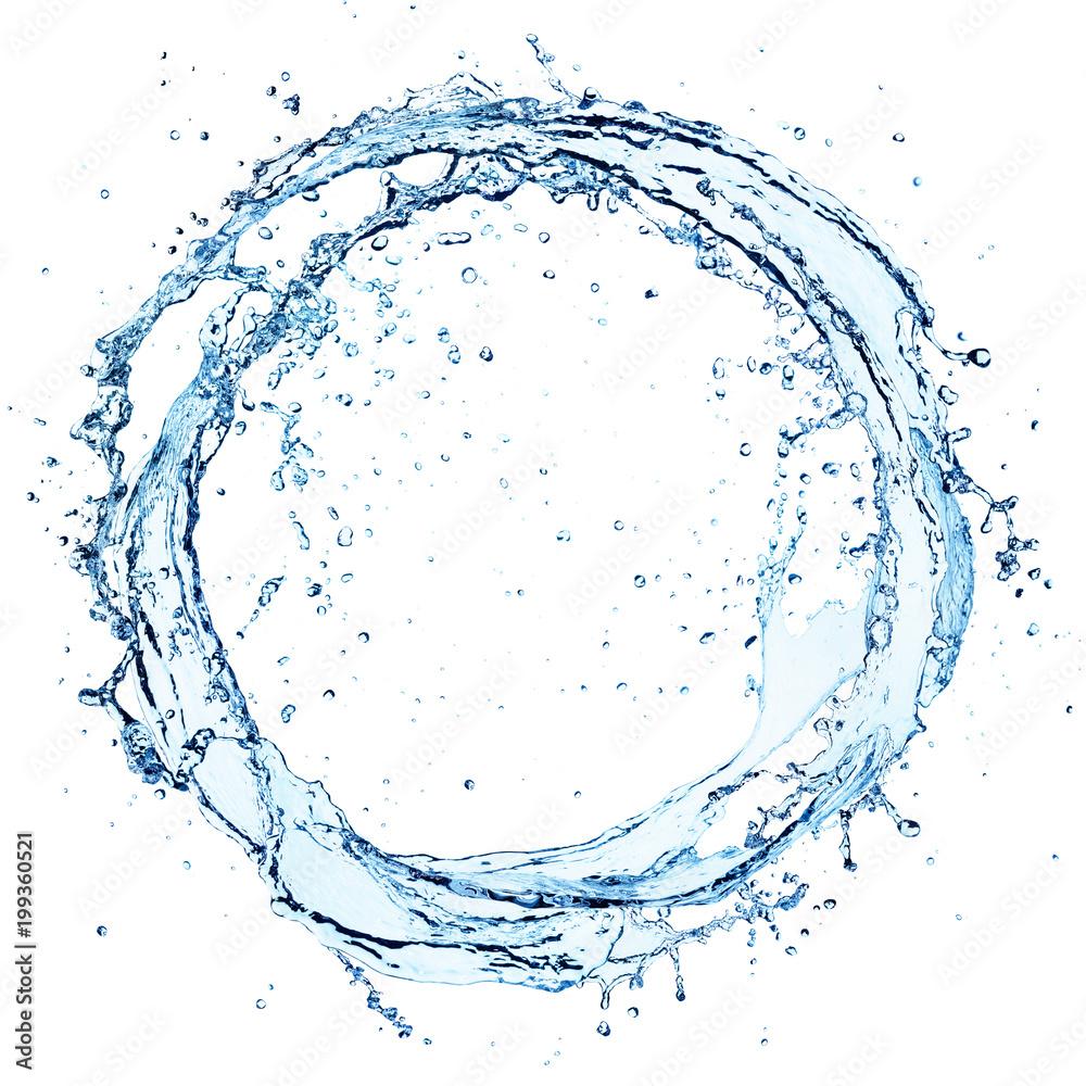 Fototapeta Water Splash In Circle - Round Shape On White