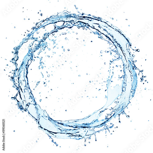 Photo sur Toile Eau Water Splash In Circle - Round Shape On White