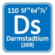 Periodic table element darmstadtium icon.