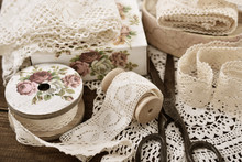 Vintage Lace Trims And Sewing Items