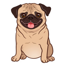 Pug Dog Cartoon Illustration. ...