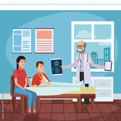 Fototapety, obrazy: Doctors office cartoon with patient vector illustration graphic design