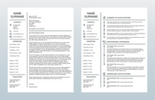 Minimalist Creative Cover Letter And One Page Resume/CV Template On White Background