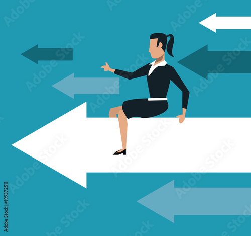 Cuadros en Lienzo Business woman over progressive arrows vector illustration graphic design