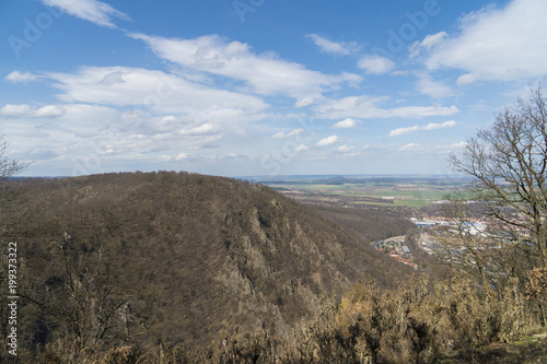 Foto op Aluminium Grijs View from Hexentanzplatz to the Harz mountains and Bodetal in Thale Germany
