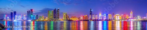 Canvas Prints Dark blue Skyline of urban architectural landscape in Qingdao