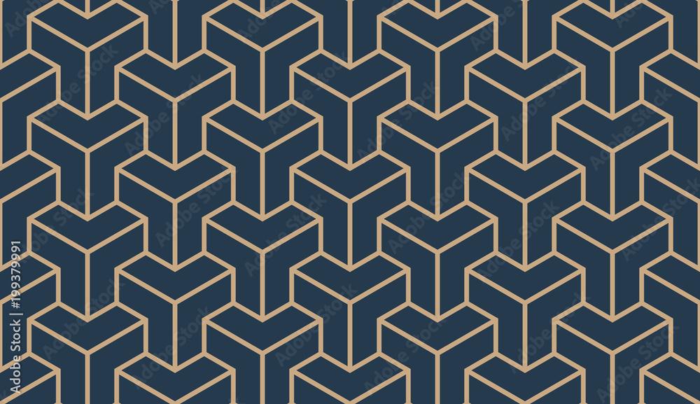 Fototapeta Seamless tan blue and brown asian trilateral pattern vector