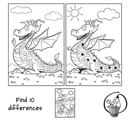 Funny dragon. Find 10 differences. Educational matching game for children. Black and white cartoon vector illustration