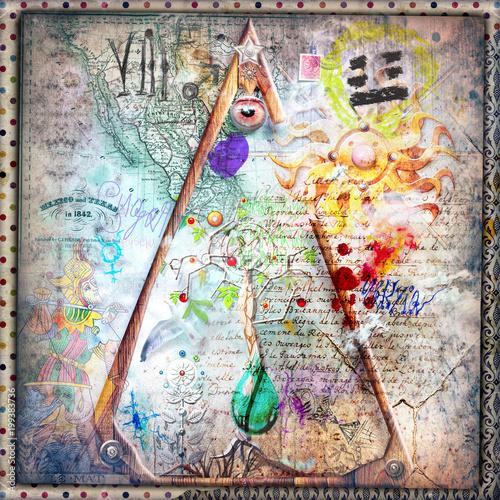 Poster Imagination Sfondo con simboli,disegni e segni alchemici,astrologici e esoterici