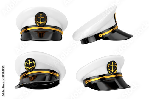 Naval Officer, Admiral, Navy Ship Captain Hat. 3d Rendering Tapéta, Fotótapéta
