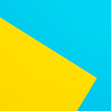Blue And Yellow Texture Background. Flat Lay. Top View