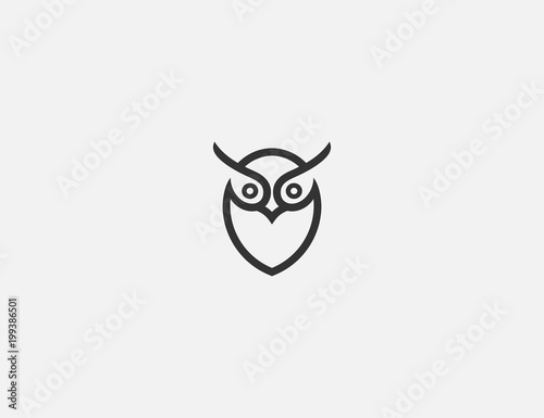 Tuinposter Uilen cartoon simple owl logo design template