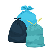 Three Garbage Bags Isolated On...