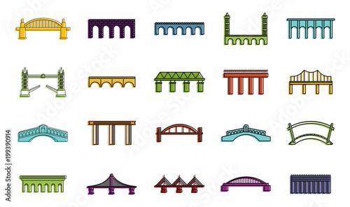 Fotografia Bridge icon set, color outline style