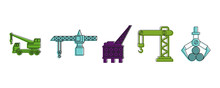 Crane Icon Set, Color Outline Style