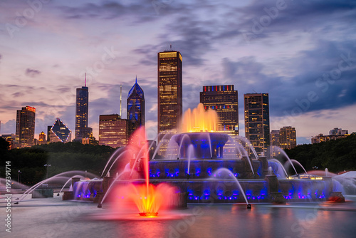 Foto op Plexiglas Chicago Buckingham fountain in Grant Park, Chicago