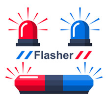 Red And Blue Flasher. Collecti...