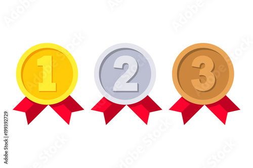 Obraz 1st, 2nd and 3rd places. Gold, silver, bronze medal. First, second, third place. Award winner. Trophy with red ribbon. Golden badge for achievement. Vector flat design. Isolated on white background - fototapety do salonu