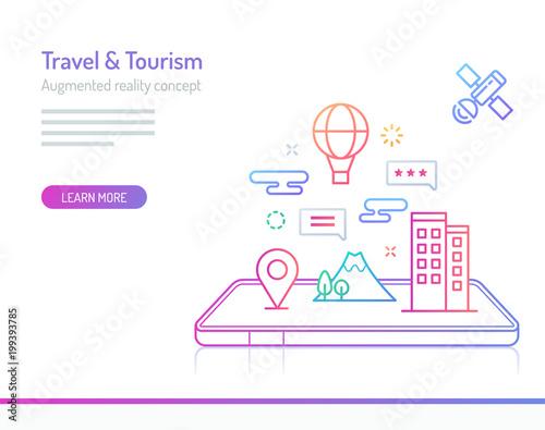 Cuadros en Lienzo Augmented Reality Concept - Travel & Tourism