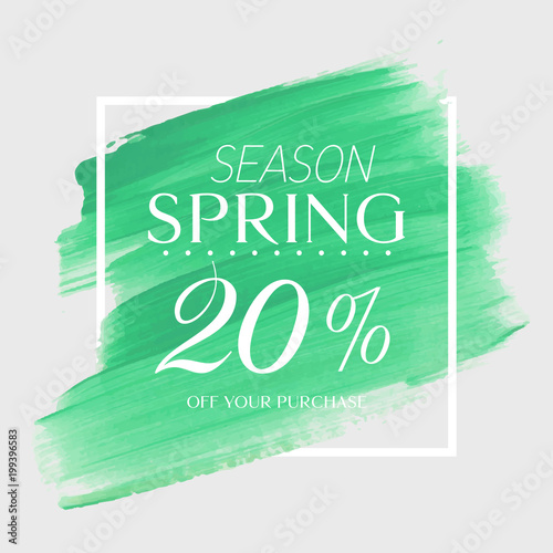 Spring sale 20% off sign over art brush acrylic stroke paint