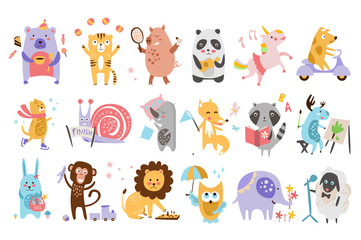 Flat vector set of funny cartoon animals in different actions. Playing games, drinking tea, eating, riding on scooter, drawing. Forest, farm and imagination creatures