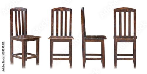Fotografie, Obraz  set of dark wooden chair isolated on white background